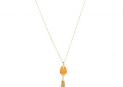 260GCH Teardrop Semi Precious Stone Tassel Necklace  Stone: Semi Precious - Quantum EMF Protectors