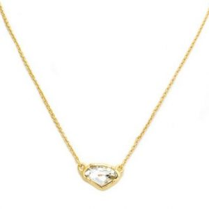 "New Product - Matte Gold Necklace with Clear Crystal Pendant 16"" + 2"" Extender - Quantum EMF Protectors"