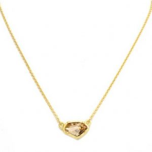 New Product - Matte Gold Necklace with Topaz Crystal Pendant - Quantum EMF Protectors