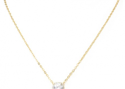 "New Product - 16"" Gold Tone and Square Cubic Zirconia Pendant - Quantum EMF Protectors"