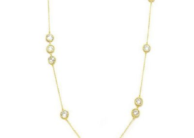 EMF Protection Jewelry - NE-3776 HEM - Gold Chain Long Necklace with Clear Cubic Zirconia Stations - Quantum EMF Protectors