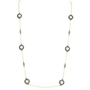 New Product - Gold Tone Necklace w/ Gold Oval and Clear Cubic Zirconia Stations - Quantum EMF Protectors