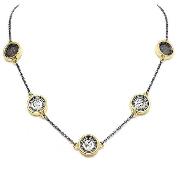New Product - Gunmetal and Gold Coin Stations Necklace - Quantum EMF Protectors