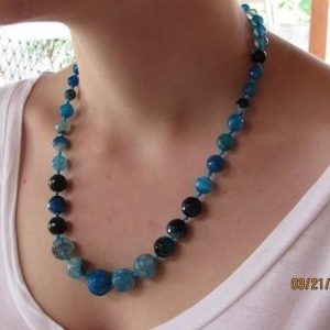 Quantum EMF Blue Agate EMF Neutralizer Necklace - Balanced is Safe! - Quantum EMF Protectors