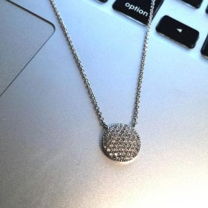 "New Product - 16"" Silver Tone and Round Pave Zirconia Pendant - Quantum EMF Protectors"