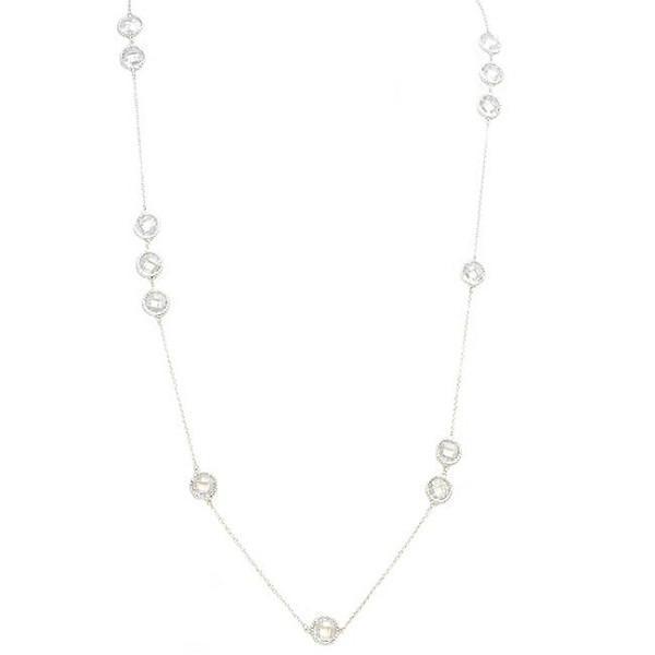 EMF Jewelry - Silver Chain Necklace with Cubic Zirconia Stations Quantum EMF BioShield Quantum Protector - Quantum EMF Protectors
