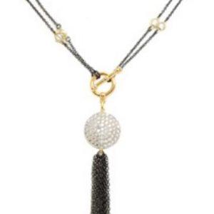 "New Product - Round Cubic Zirconia Pave Tassel Necklace Gun Metal 36"" - Quantum EMF Protectors"